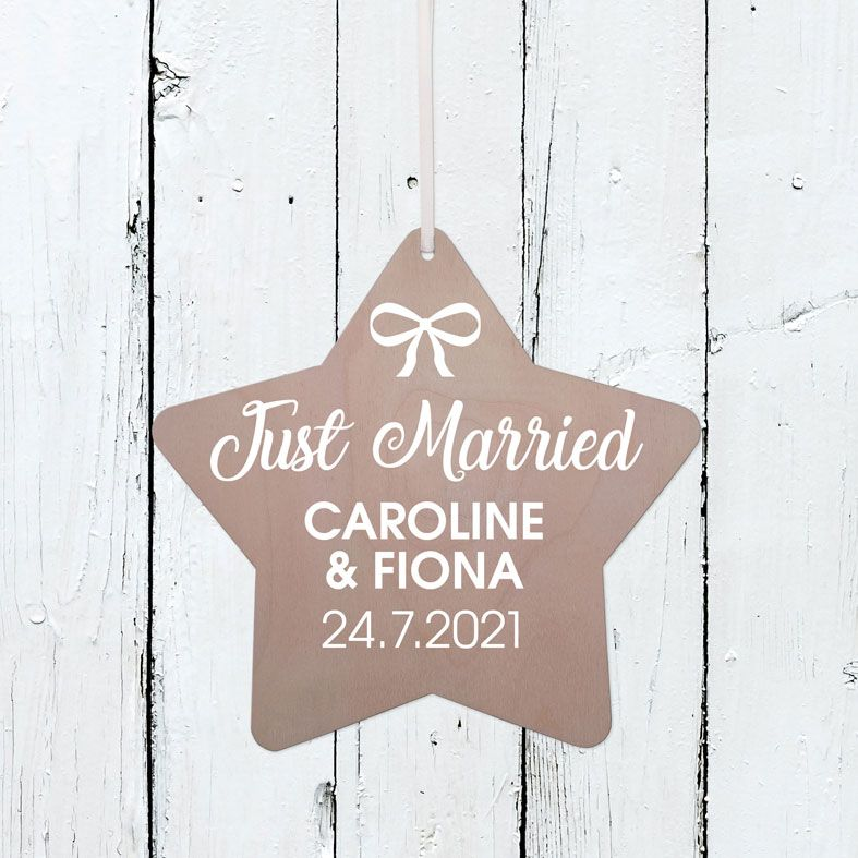 Personalised Just Married Wooden Plaque | Handmade birch wood hanging sign, personalised wedding day gift