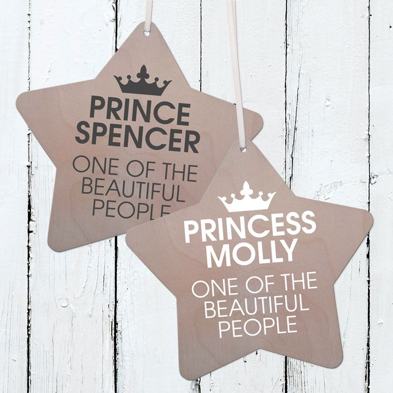 Personalised Prince or Princess Wooden Plaque | Handmade birch wood hanging sign for your baby's nursery or child's bedroom