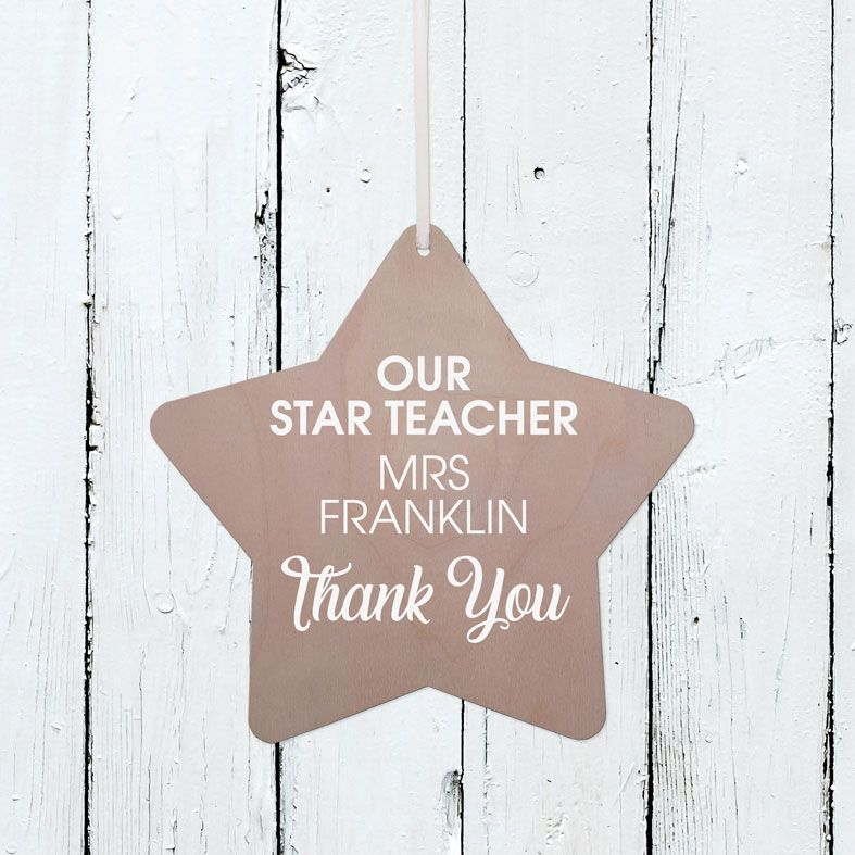 Personalised Star Teacher Wooden Plaque | Handmade birch wood hanging sign, personalised teacher thank you gift #teachergift