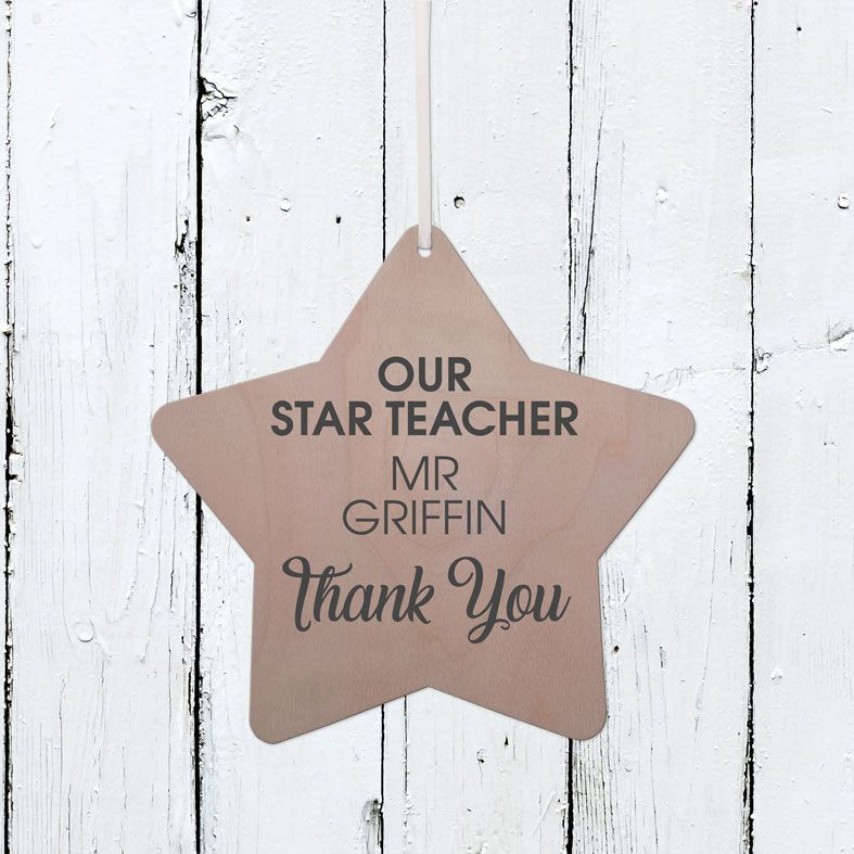 Personalised Wooden Star Plaques | Handmade birch wood hanging star signs, range of contemporary designs