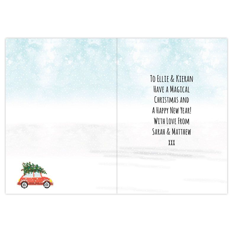 Driving Home For Christmas - Personalised Christmas Card, festive red car with tree on the top. Available as single card or pack of 20 cards. Free fast UK P&P.