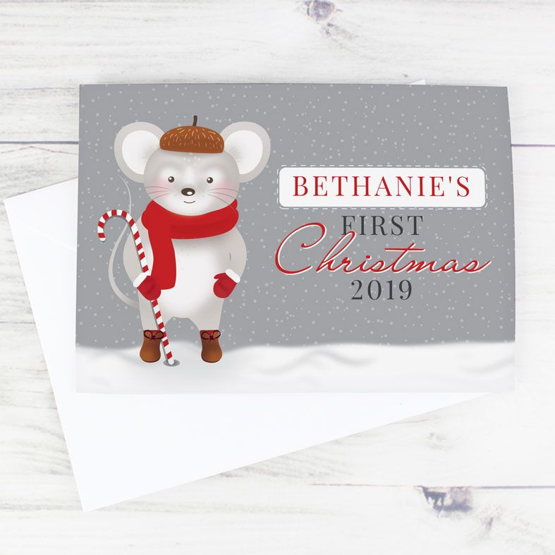 Baby's 1st Christmas Mouse | Personalised Christmas Card