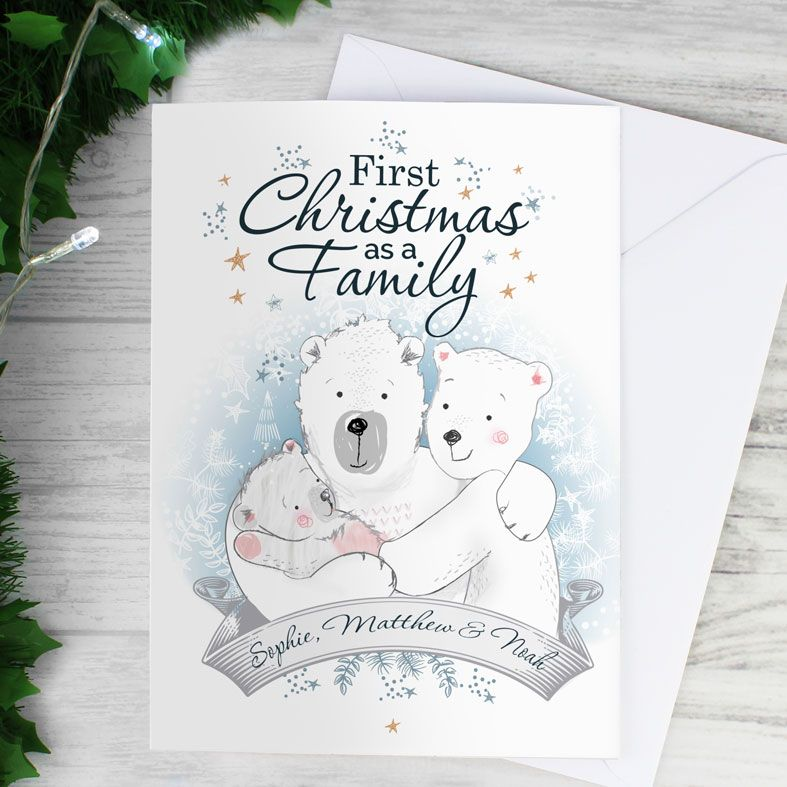 1st Christmas As A Family - Personalised Christmas Card. Free inside printing. Fast dispatch. Free UK P&P.