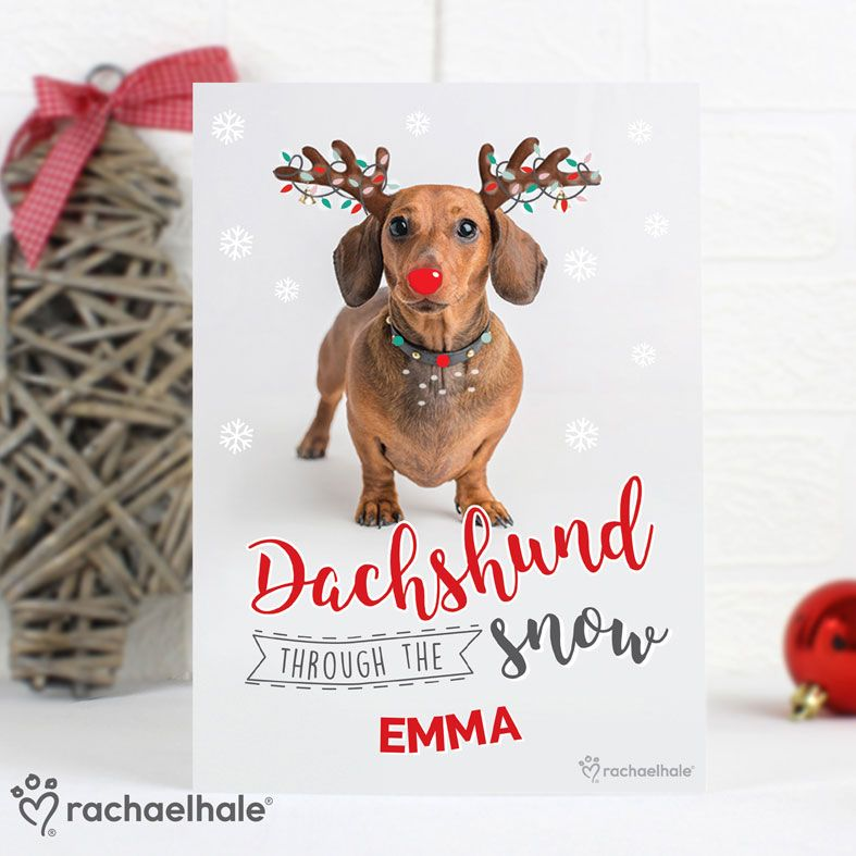 Dachshund Through The Snow Personalised Christmas Card, designed by Rachael Hale. Free inside printing. Fast dispatch. Free UK P&P.