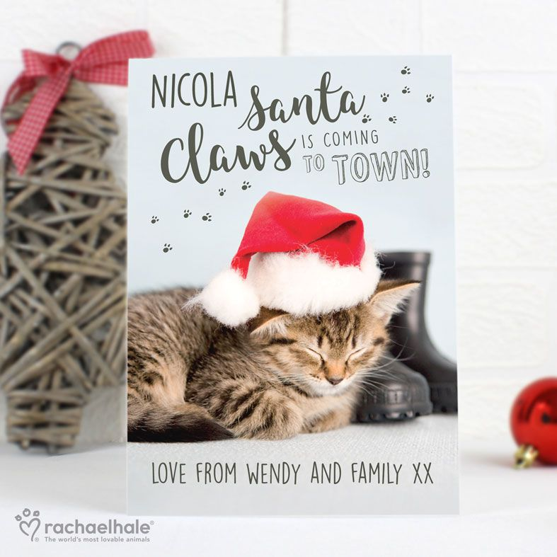 Santa Claws Cat Personalised Christmas Card, designed by Rachael Hale. Free inside printing. Fast dispatch. Free UK P&P.