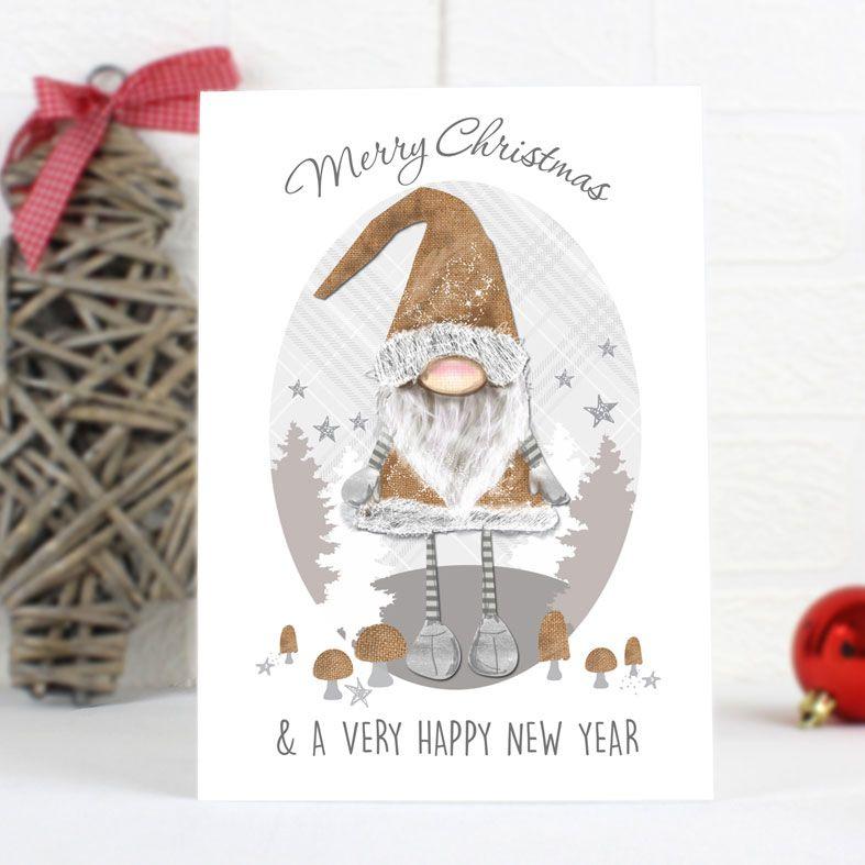 Scandinavian Christmas Gnome - Personalised Christmas Card. Scandinavian Gonk personalised card. Free inside printing. Fast dispatch. Free UK P&P.