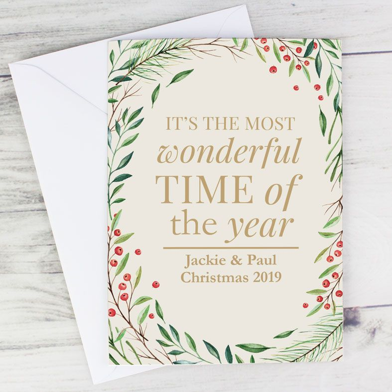 Wonderful Time of The Year - Personalised Christmas Card. Free inside printing. Fast dispatch. Free UK P&P.