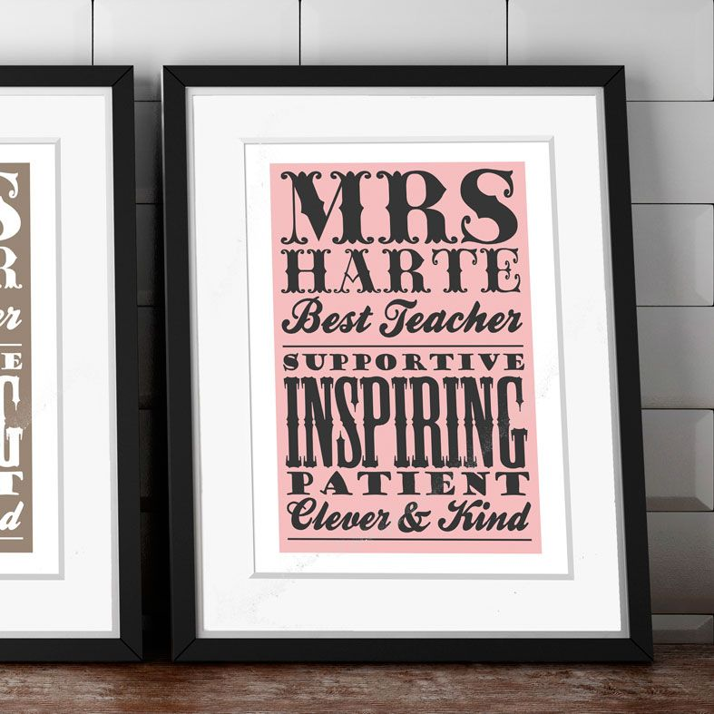Personalised Thank You Teacher Print | Typography style print, thoughtful thank you teacher gift idea, from PhotoFairytales #teachergift