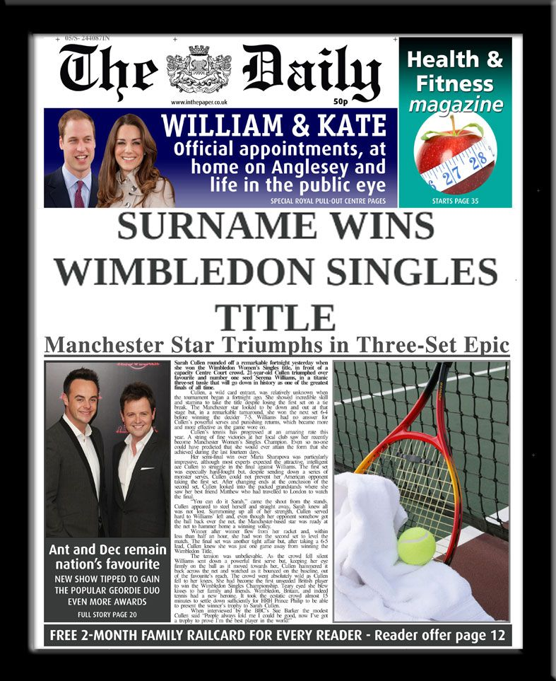 Personalised Tennis Wimbledon Newspaper | personalised newspaper gift from PhotoFairytales