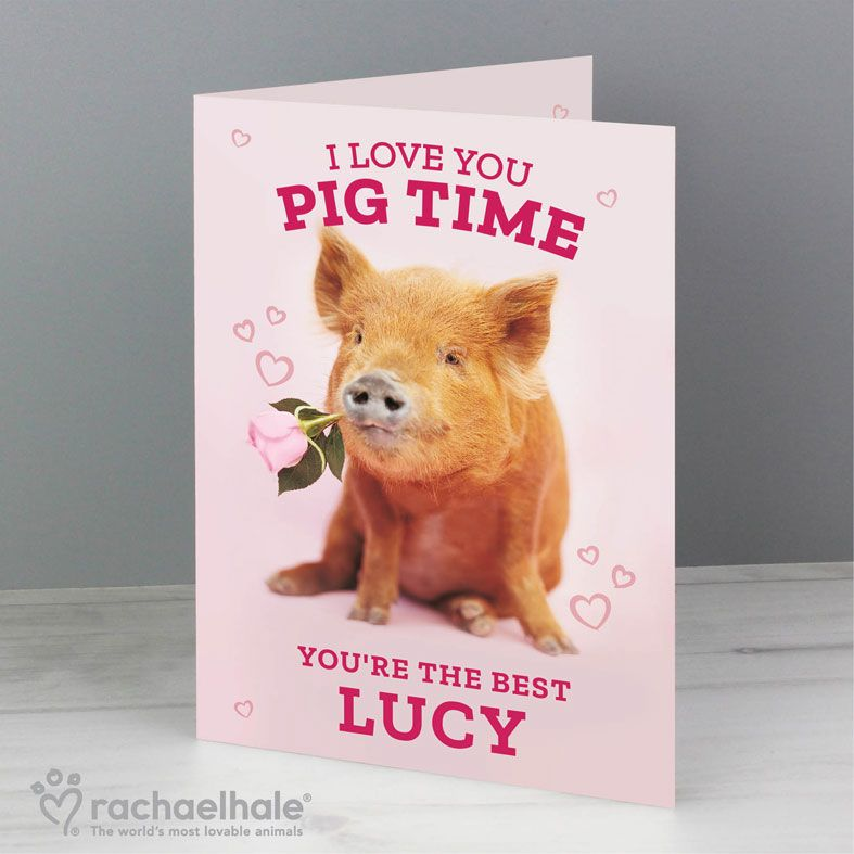 I Love You Pig Time personalised greeting card