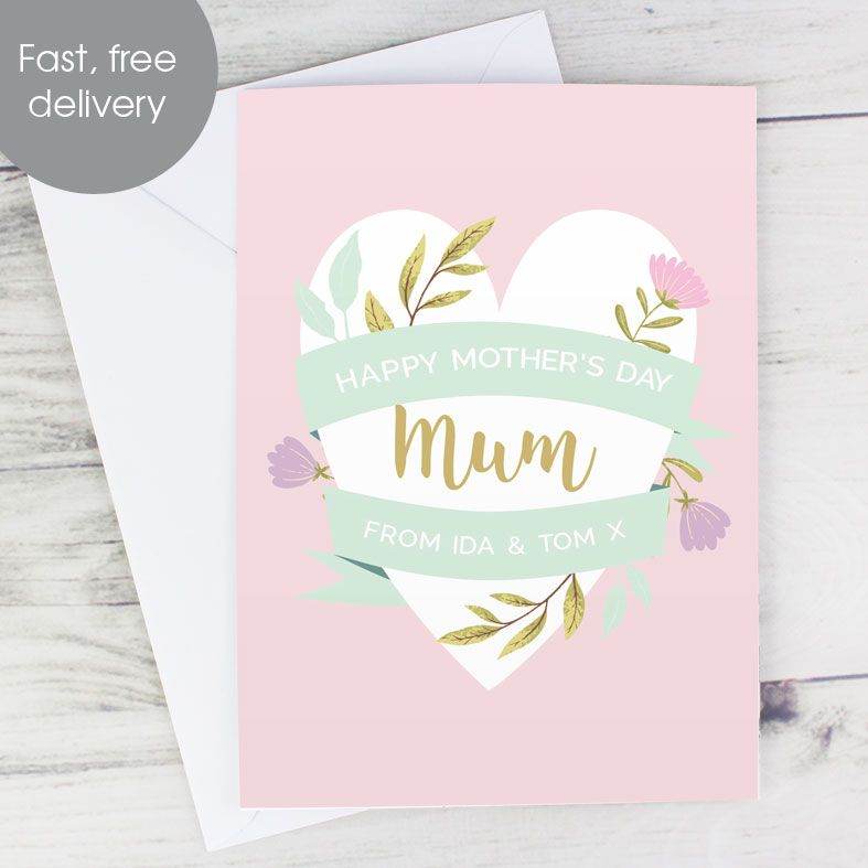 Floral Heart personalised Mother's Day greeting card | PhotoFairytales