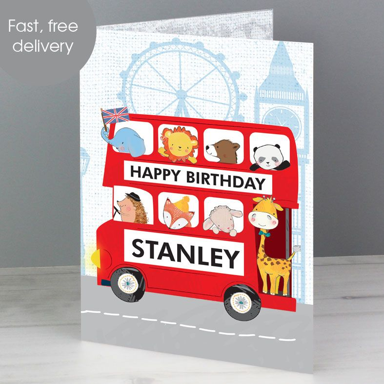 Personalised London Bus Birthday Card | PhotoFairytales