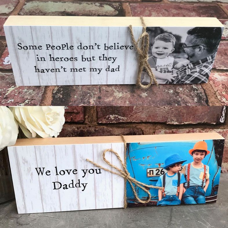 Handmade Wooden Message Photo Block | freestanding solid wood, personalised with your photo and wording, PhotoFairytales