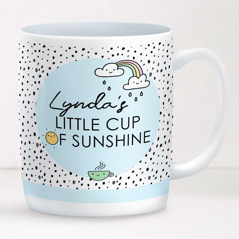 Little Cup of Sunshine personalised rainbow mug gift  | beautifully illustrated and customised mug, created to order, from PhotoFairytales #personalisedmug