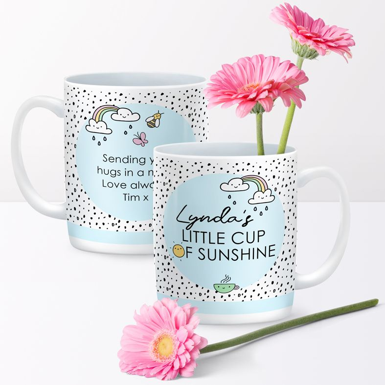 Little Cup of Sunshine personalised rainbow mug gift  | beautifully illustrated and customised mug, created to order, from PhotoFairytales #personalisedmug