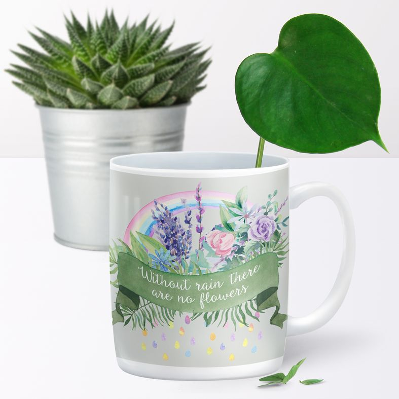 Without Rain personalised rainbow mug gift  | beautifully illustrated and customised mug, created to order, from PhotoFairytales #personalisedmug