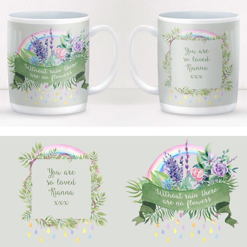 Without Rain personalised rainbow mug gift  | beautifully illustrated and customised mug, created to order, from PhotoFairytales #personalisedmug