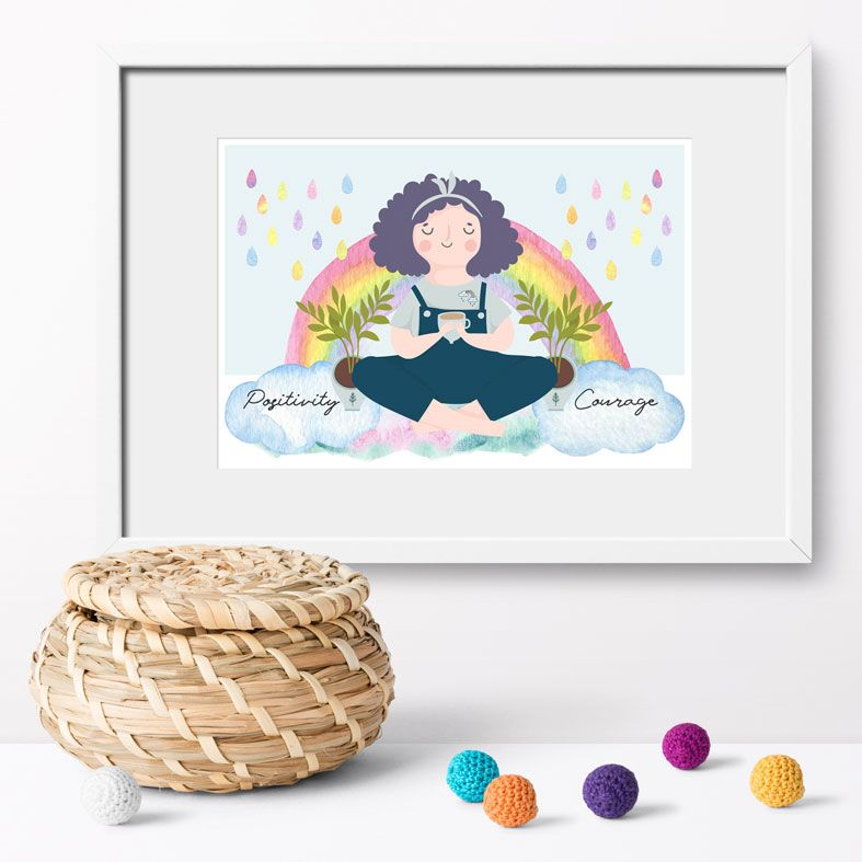 Positivity and Courage Rainbow Art Print | made to order motivational wall art from PhotoFairytales