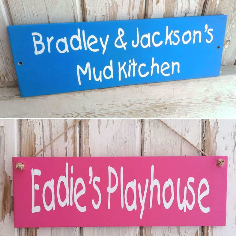Personalised Mud Kitchen and Playhouse Wooden Signs | Outdoor Wooden Plaques and Signs, PhotoFairytales