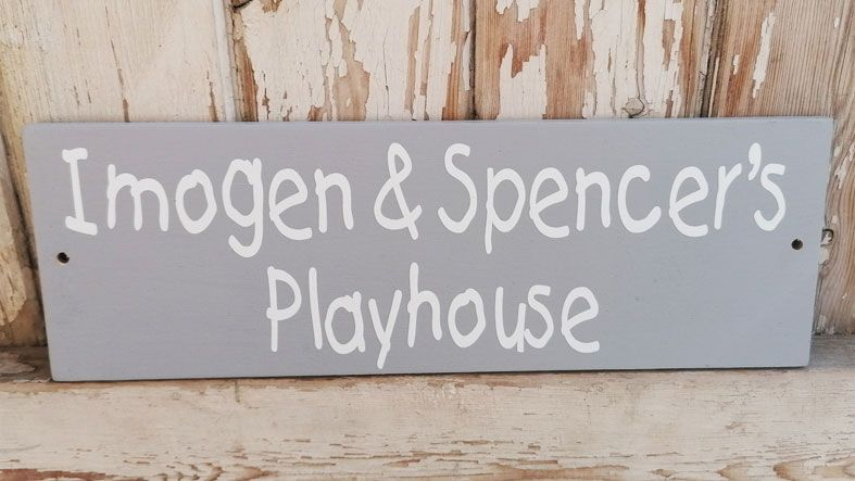 Personalised Children's Mud Kitchen and Playhouse Garden Signs | Handmade and personalised wooden outdoor plaques made to order, range of colours, from PhotoFairytales