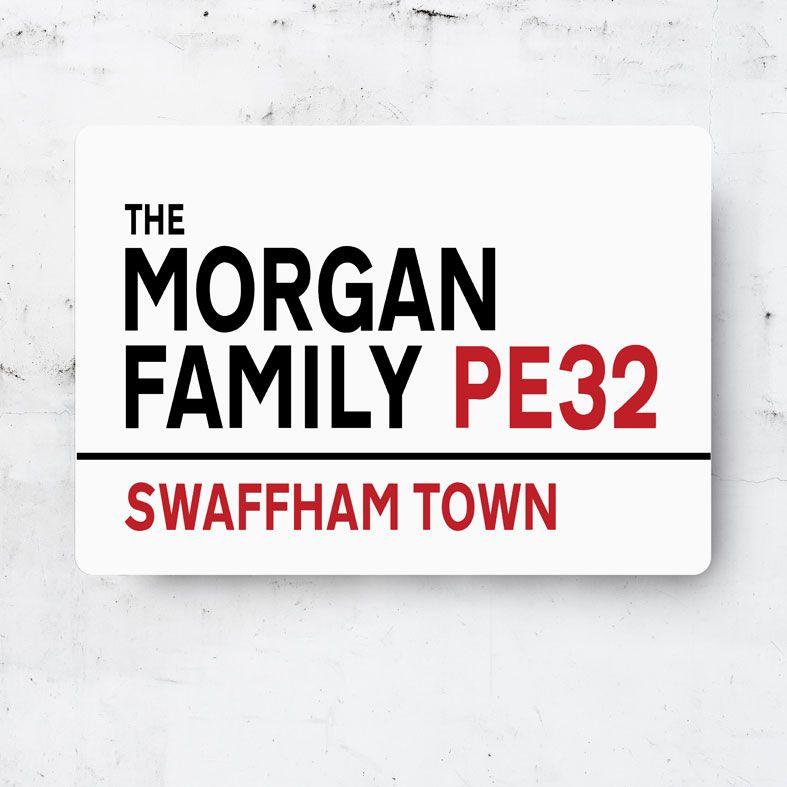 Personalised Family Metal Street Sign | Handmade Custom Wall Signs, Personalised Aluminium Signs, Personalised Family Gift