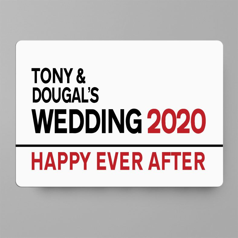 Personalised Wedding Day Metal Street Sign | Handmade Custom Wall Signs, Personalised Aluminium Signs, Personalised Wedding Gift