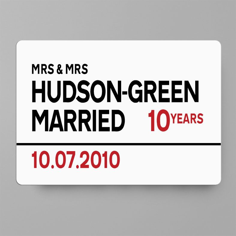 Personalised Anniversary Metal Street Sign | Handmade Custom Wall Signs, Personalised Aluminium Signs, Personalised Wedding Anniversary Gift, 10th Wedding Anniversary Gift Idea, Tin Aluminium Gift