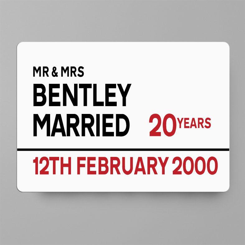 Personalised Anniversary Metal Street Sign   Handmade Custom Wall Signs, Personalised Aluminium Signs, Personalised Wedding Anniversary Gift, 10th Wedding Anniversary Gift Idea, Tin Aluminium Gift