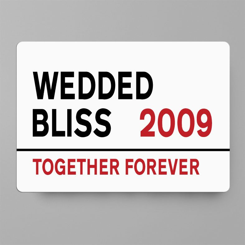 Personalised Wedded Bliss Metal Street Sign | Handmade Custom Wall Signs, Personalised Aluminium Signs, Personalised Wedding Anniversary Gift, 10th Wedding Anniversary Gift Idea, Tin Aluminium Gift