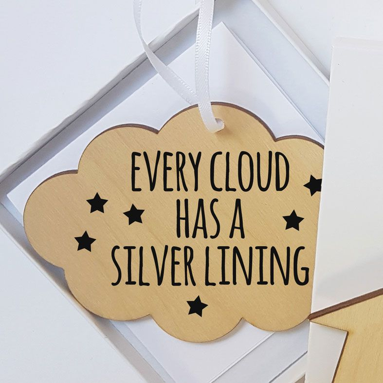Mini Wooden Cloud Message Plaques | Every Cloud Has A Silver Lining Personalised Gift Wrapped Present for Him or Her, Handmade Custom Wood Hanging Cloud Signs, Letterbox Friendly Personalised Gift