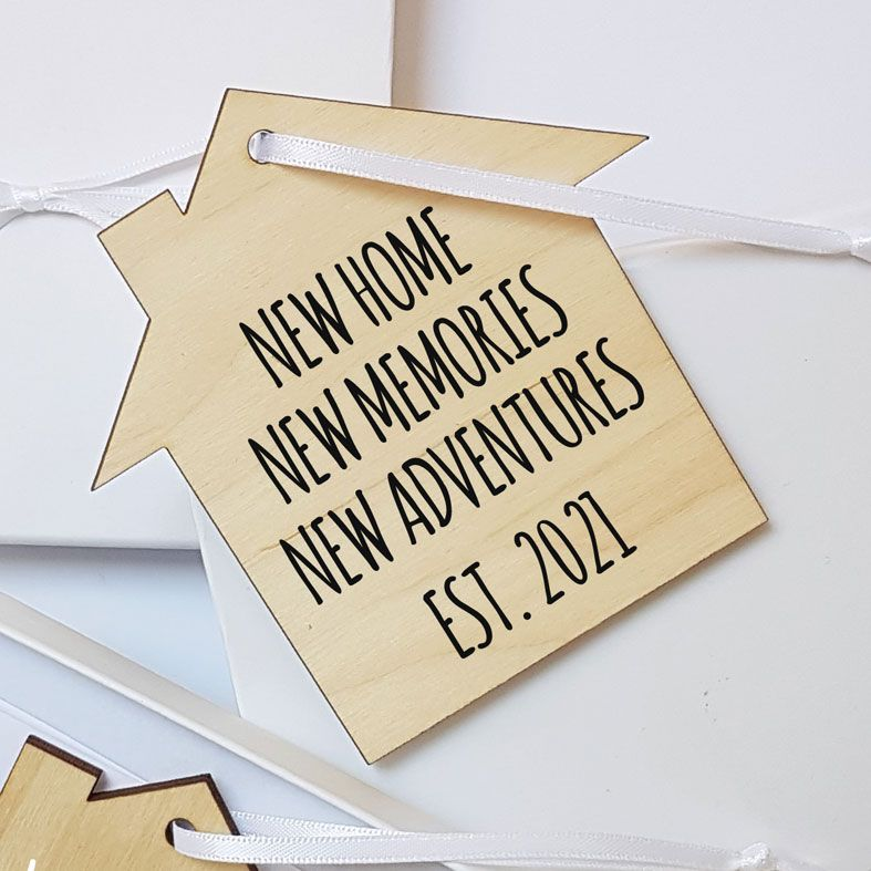 Mini Wooden House Message Plaques | Housewarming Personalised Gift Wrapped Present, Handmade Custom Wood Hanging House Signs, Letterbox Friendly Personalised New Home Gift