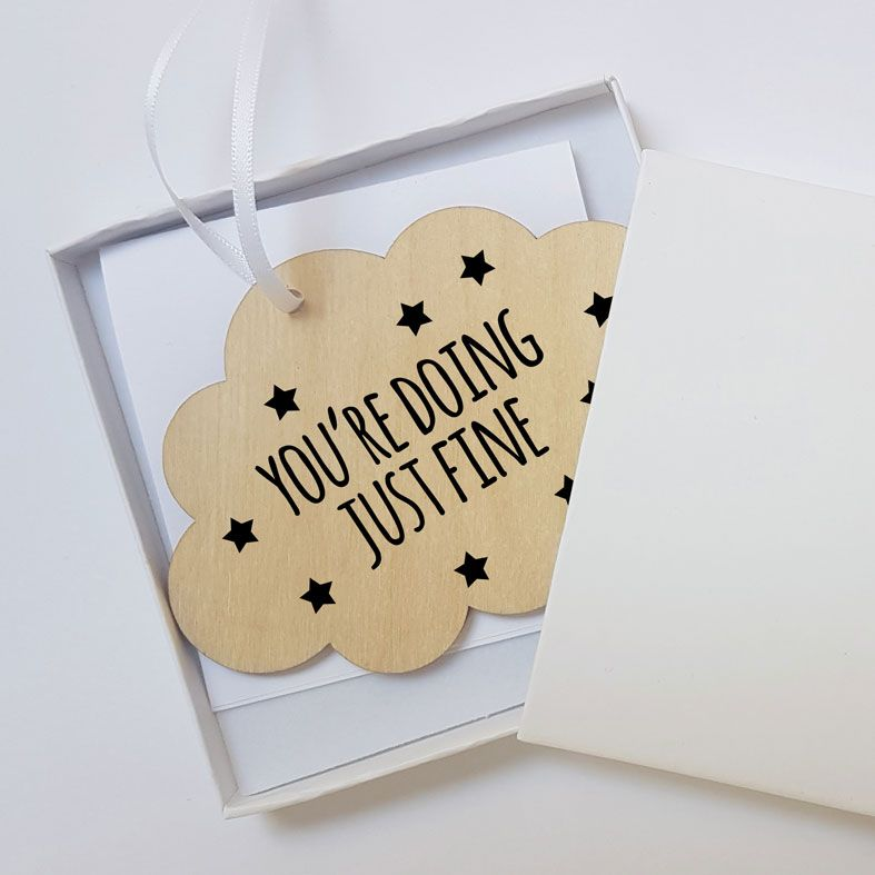 Mini Wooden Cloud Message Plaques | You're Doing Just Fine Personalised Gift Wrapped Present for Him or Her, Handmade Custom Wood Hanging Cloud Signs, Letterbox Friendly Personalised Gift