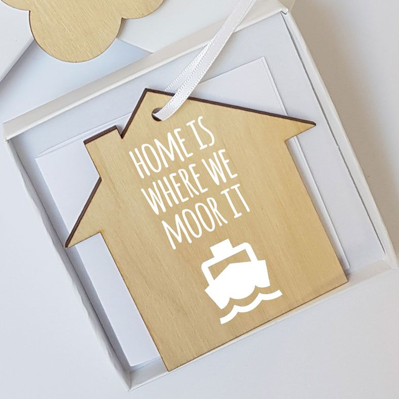 Mini Wooden House Message Plaques | Home is Where We Moor It Boat Sailing Personalised Gift Wrapped Present, Handmade Custom Wood Hanging House Signs, Letterbox Friendly Personalised Gift