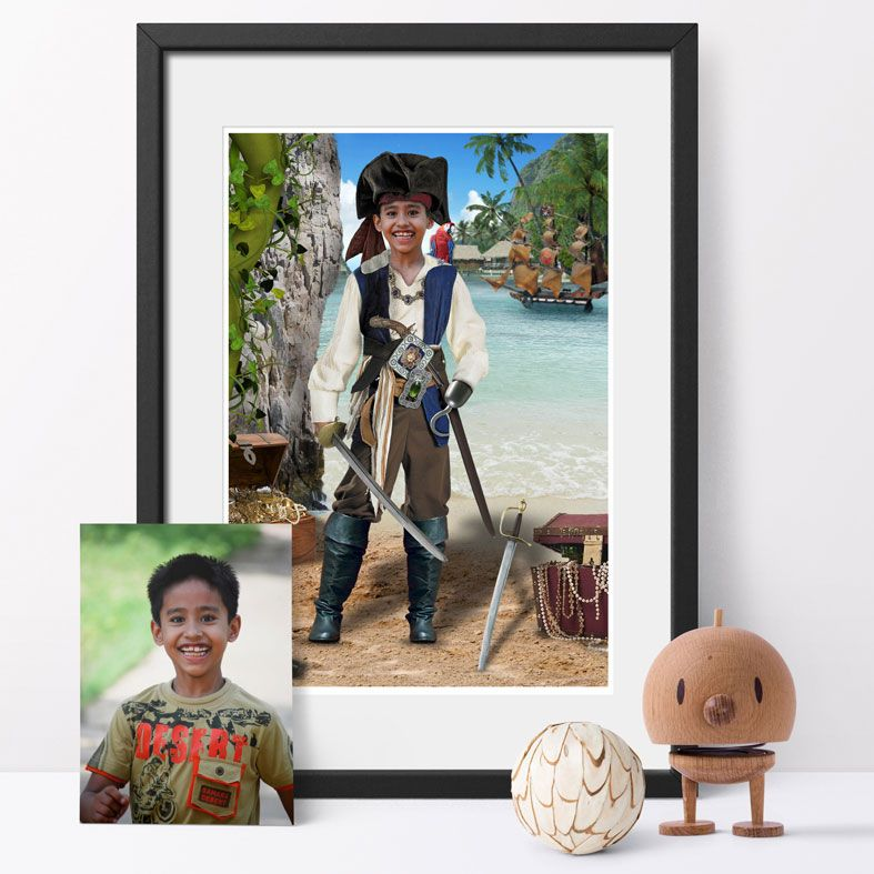 Treasure Island, bespoke fantasy image created from your own photo into unique personalised portrait and custom wall art   PhotoFairytales