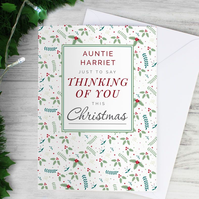 Thinking of You - Personalised Christmas Card. Free inside printing. Fast dispatch. Free UK P&P.