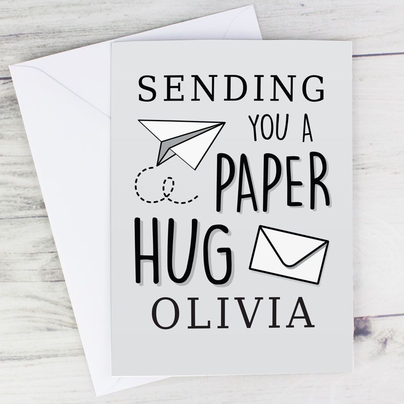 Sending A Paper Hug - Personalised Card. Free inside printing. Fast dispatch. Free UK P&P. Covid Social Distancing Greeting Card.