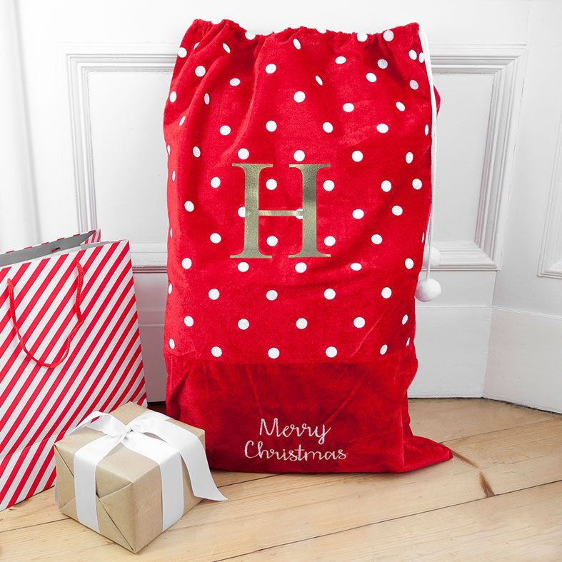 Personalised Traditional Santa Sack, Polka Dot Design, velvet finish, from PhotoFairytales
