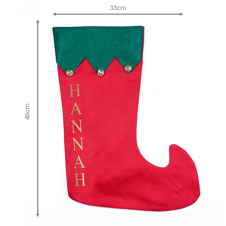 Personalised Traditional Santa Stocking, Jingle Bells red and green design, from PhotoFairytales