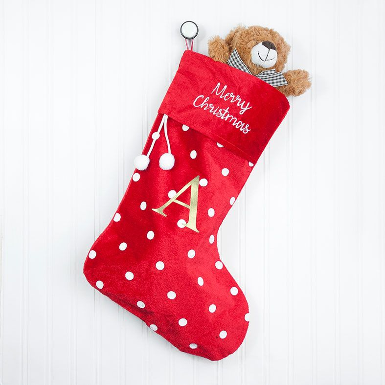 Personalised Traditional Santa Stocking, Polka Dot Design, velvet finish, from PhotoFairytales