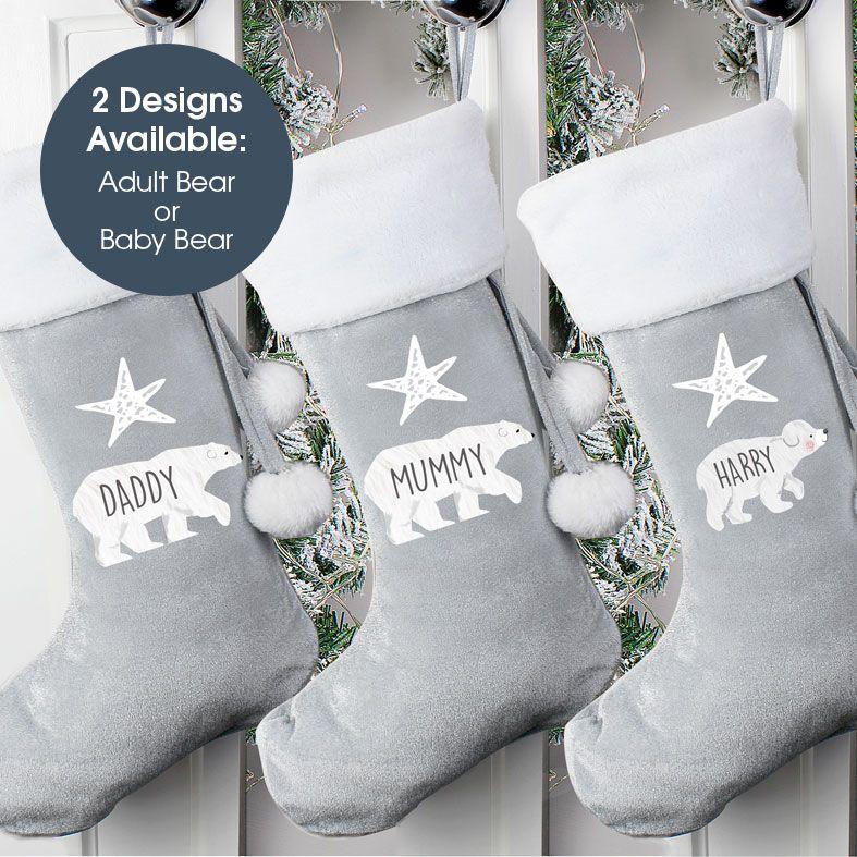 Personalised Traditional Santa Stocking, Silver Grey Polar Bear Design, velvet finish, from PhotoFairytales