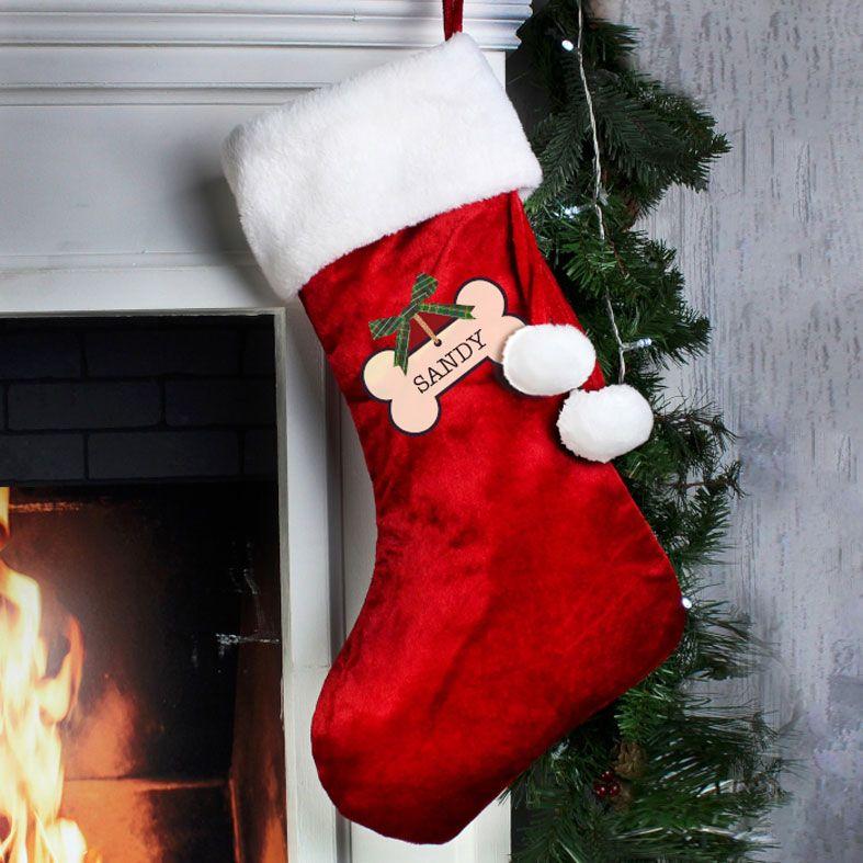 Personalised Pet Santa Stocking, Dog or Cat Design, velvet finish, from PhotoFairytales