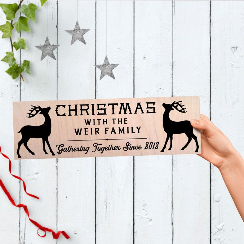 Christmas Reindeer Personalised Wooden Family Signs   Large Handmade Scandi Wood Christmas Plaques, from PhotoFairytales