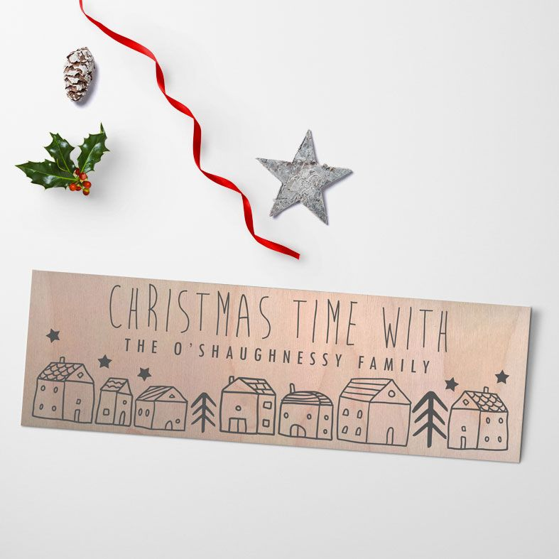 Christmas Houses Personalised Wooden Family Signs   Large Handmade Scandi Wood Christmas Plaques for the home, from PhotoFairytales