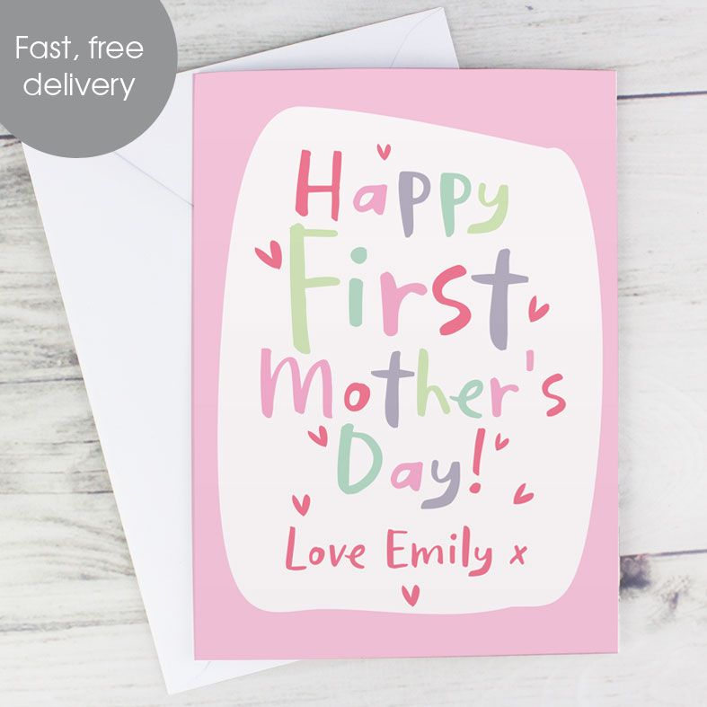 Happy First Mother's Day - Personalised Mother's Day Card. Free inside printing. Fast dispatch. Free UK P&P.