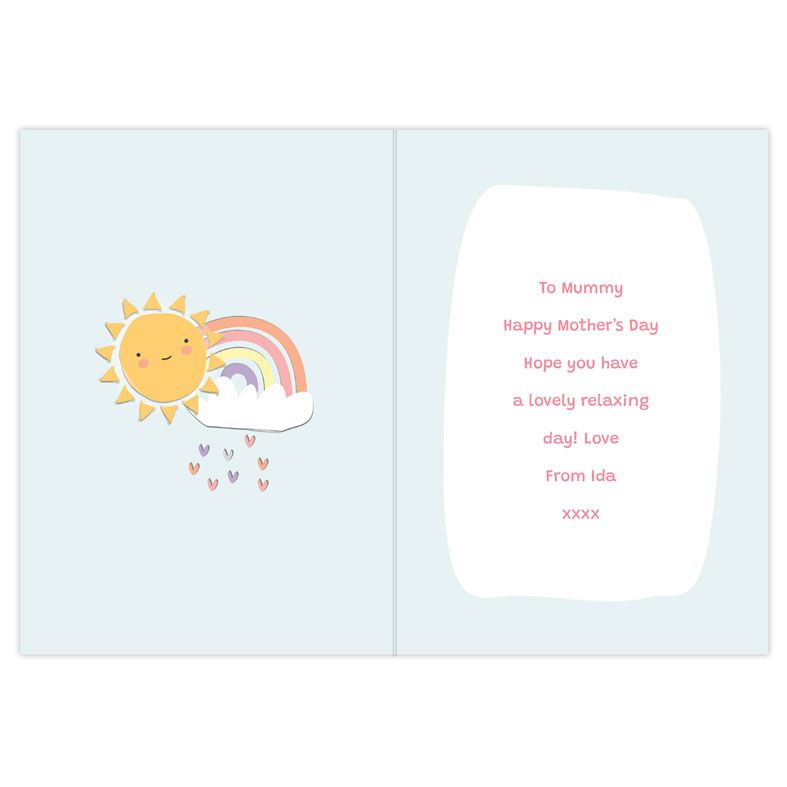 You Are My Sunshine - Personalised Card. Free inside printing. Fast dispatch. Free UK P&P. Rainbow card.