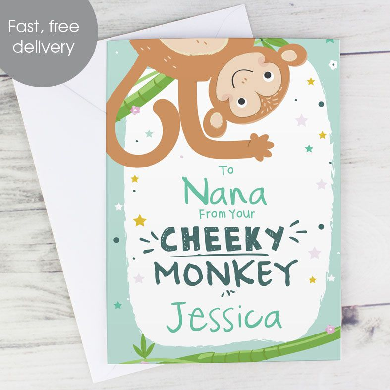 From Your Cheeky Monkey - Personalised Card. Free inside printing. Fast dispatch. Free UK P&P. Rainbow card.