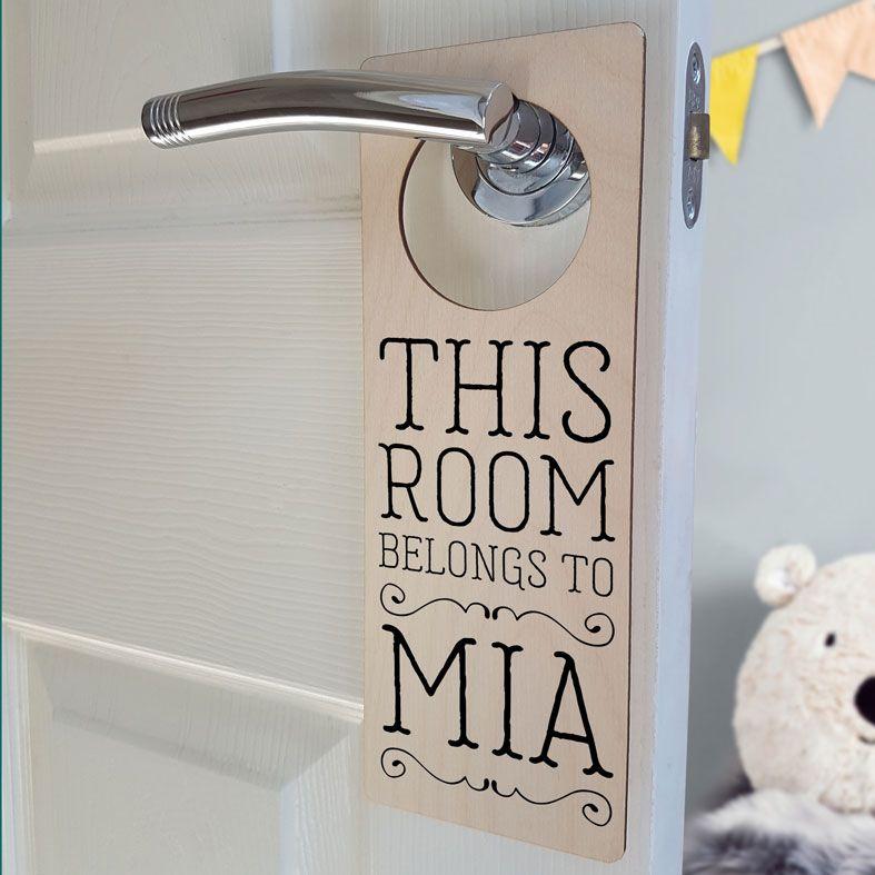 Personalised Bedroom Door Hanger | Bedroom Door Sign, This Room Belongs To Sign, PhotoFairytales
