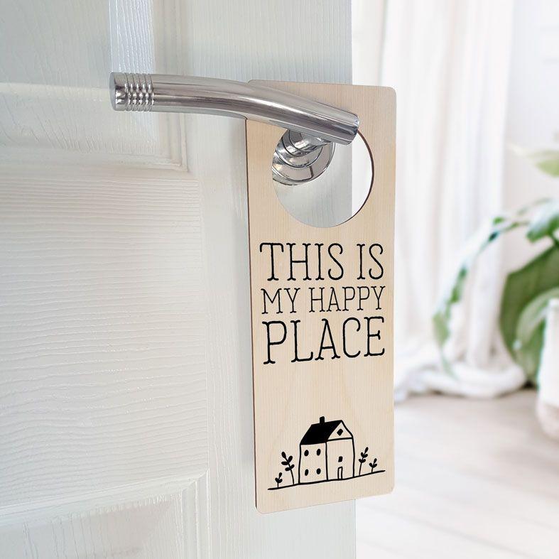 Personalised Door Hanger | Happy Place Door Sign, New Home Gift, Housewarming Gift, PhotoFairytales