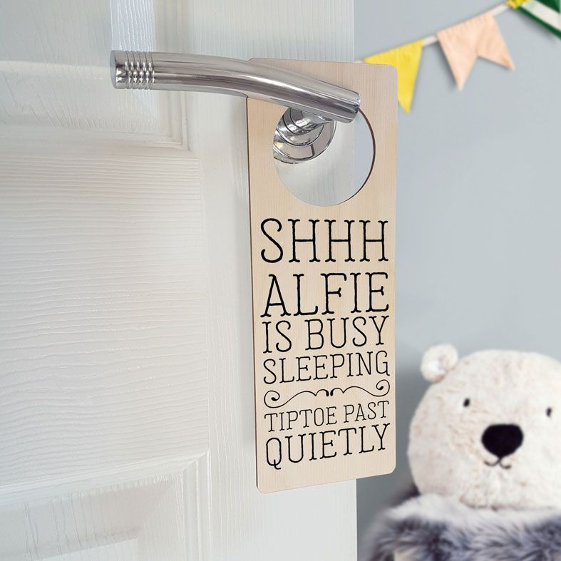 Personalised Nursery Door Hanger | Shhh Baby Sleeping Door Sign, Personalised Nursery Sign, PhotoFairytales