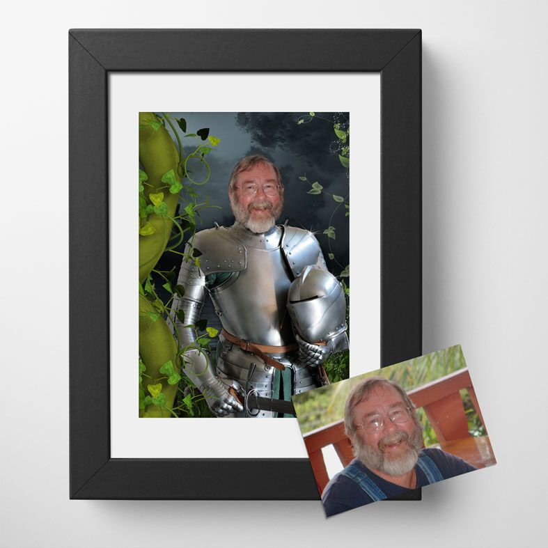 Knight in Shining Armour, bespoke fantasy image created from your own photo into unique personalised portrait and custom wall art | PhotoFairytales